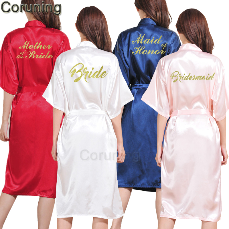 Bridal Robe To Get Ready In: TJ01 Large Size S 3XL Gold Letter Bride Bridesmaid Get