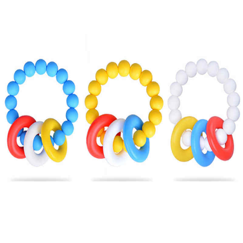 Cuentas de gel de sílice para bebé dientes masticables para dentición de Niños de grado alimenticio anillo de silicona dientes de diente de bebé