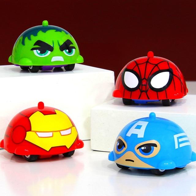 Avengers Endgame Peripheral Toys Captain America Hulk Battle Gyro 5cm Spiderman Inertial Car Marvel Ironman Car Spinning Top