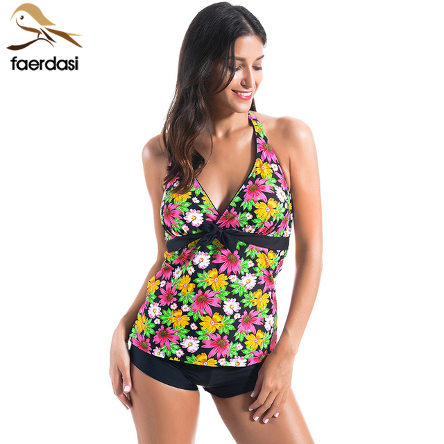 faerdasi Halter Swimsuit Tankini Swimsuits Women Retro Swimwear Sexy Deep V  Tops With Shorts Bathing Suit Beach maillot de bain f6bf02cbb25