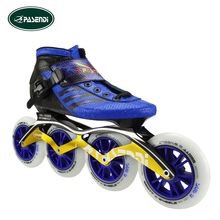 PASENDI Professional Adults Inline Speed Skate Boots Kids Patins Roller Skate Carbon Fiber Blue Shoes
