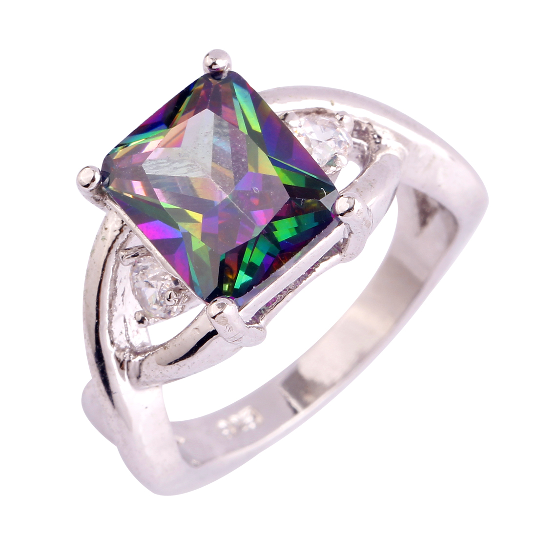 Party Gift Rainbow CZ Women Men Rings Size 6 7 8 9 10 11 Free Shipping Plated Silver Rings Wholesale Handmade Jewelry Elaborate