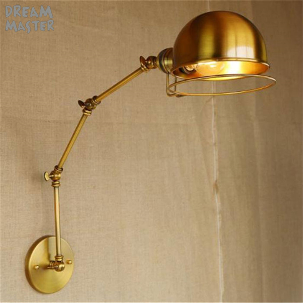 Free shipping Retro Edison Industrial Gold Vintage Wall Lamps light With Long Arm Wall Sconce Arandela De Pared reading luzFree shipping Retro Edison Industrial Gold Vintage Wall Lamps light With Long Arm Wall Sconce Arandela De Pared reading luz