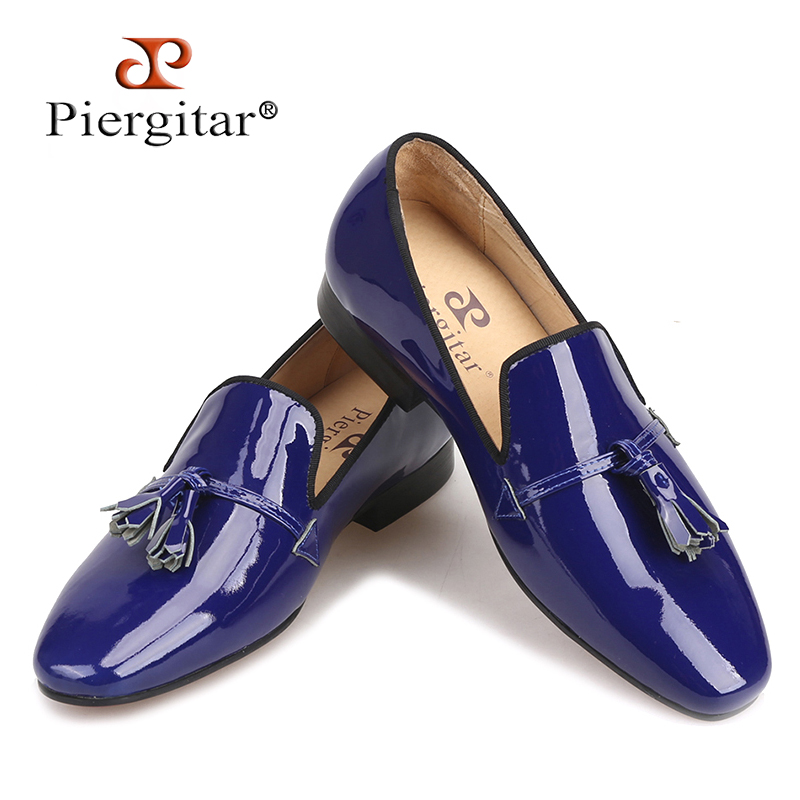 2018 New Royal blue and Black Patent Leather men tassel shoes Fashion Party and Wedding men loafers big size Men's casual shoes