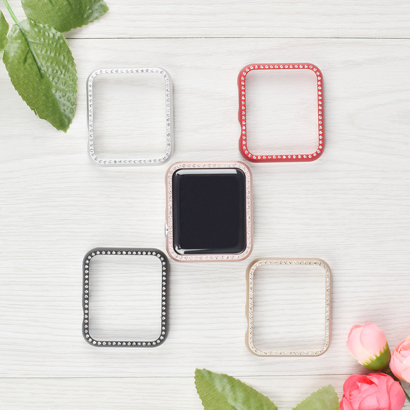 metal Aluminum alloy shatter-resistant protective case for Apple watch 42/38MM Crystal Diamond cover for IWATCH series 3/2/1 zomgo stylish protective aluminum alloy bumper case for iphone 5 5s deep pink