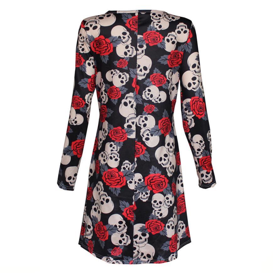 Feitong Elegant 2018 New Woman Bloues Casual New Womens Ladies Halloween Skull Long Sleeve Party Mini Dress Women Summer Dress