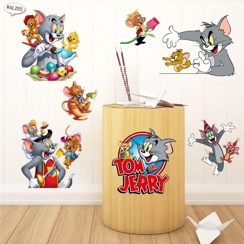 Classic Tom And Jerry Cartoon Diy Wall Sticker Wallpaper 3D Vinyl Kid Baby  Kindergarten Wall Decals Part 74