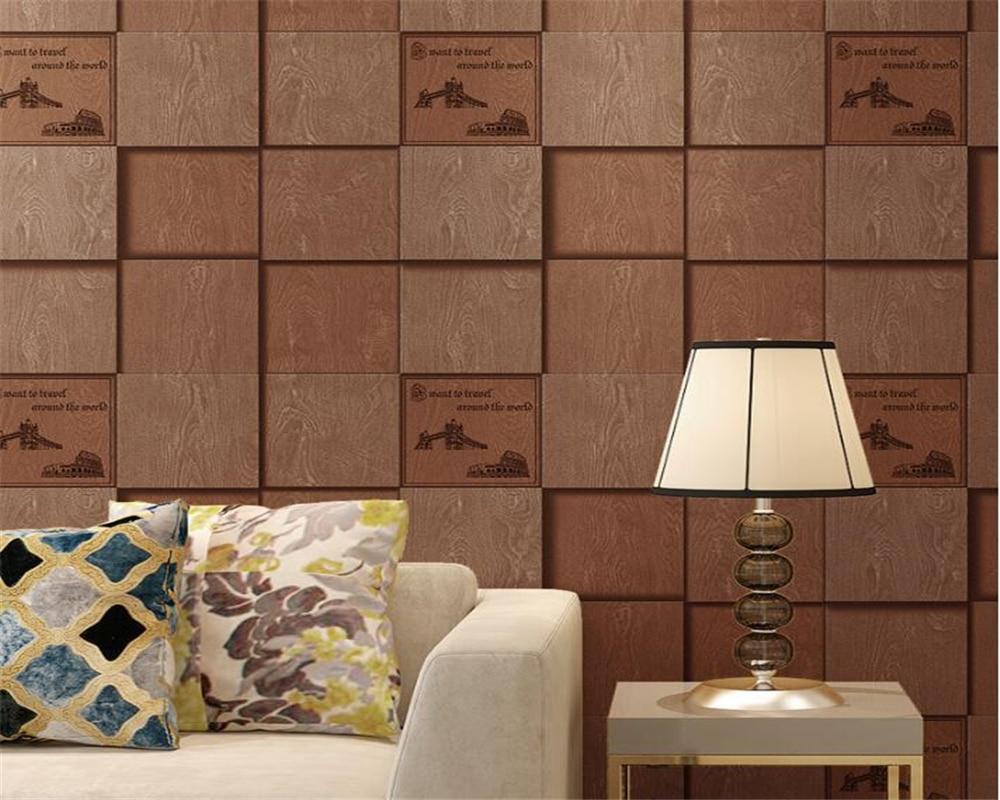 Beibehang 3D Wallpaper American Retro 3d Side Grid Wallpaper Backdrop Hotel Cafe Leisure Waterproof Wallpaper papel de parede beibehang wallpaper 3d square grid
