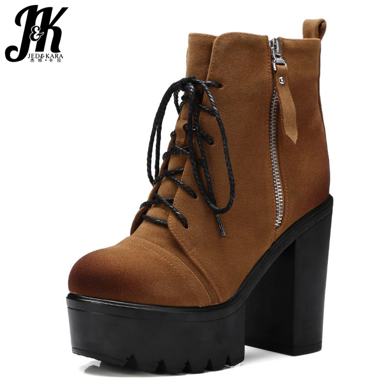 High Quality Lace Up Nubuck Short Boots Women Thick High Heels Platform Shoes Woman With Fur Skid Proof Fall Winter Suede Boots high quality lace up nubuck short boots women thick high heels platform shoes woman with fur skid proof fall winter suede boots