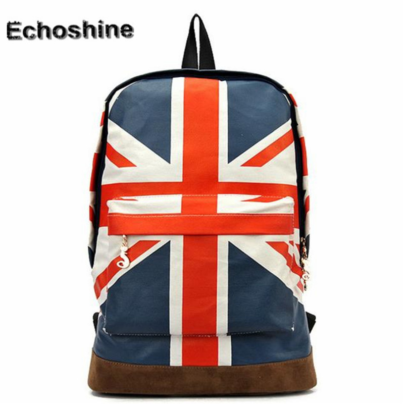 2016 popular UK British Flag Union Jack Style Backpack Shoulder School Bag BackPack Canvas travel bag