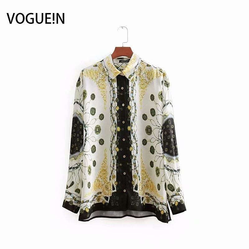 VOGUEIN New Womens Vintage Ethnic Chains Print Long Sleeve   Blouse     Shirt   Tops Wholesale