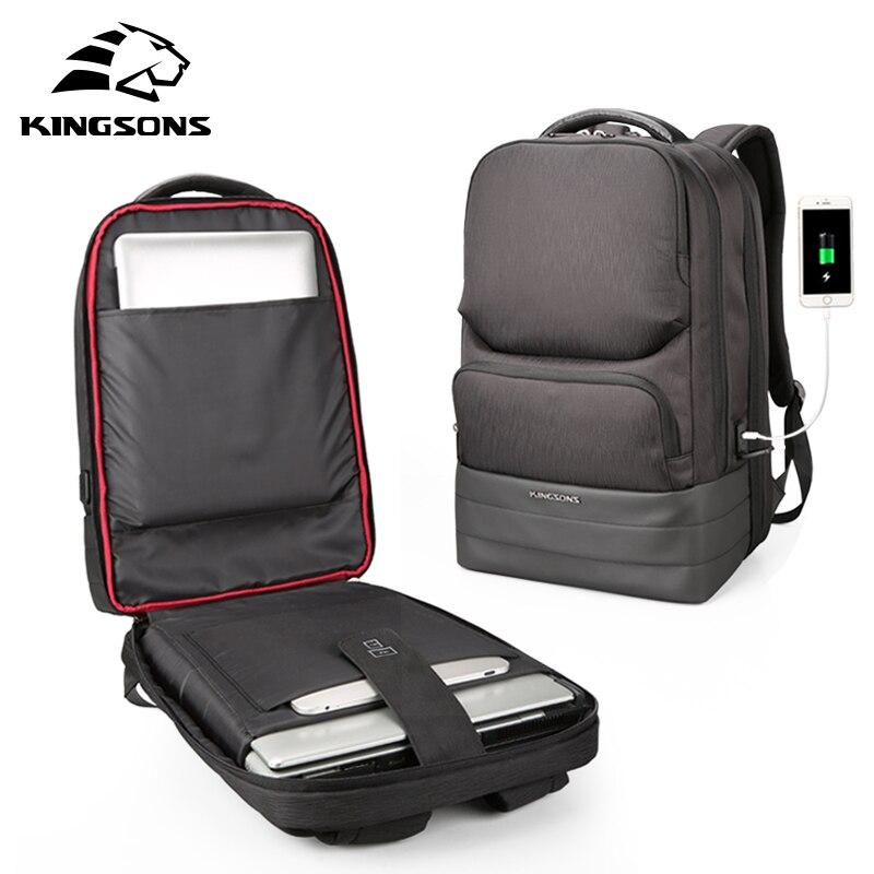 Kingsons Hommes Sac À Dos 2.0 USB Recharge Hydrofuge Ordinateur Portable Sacs À Dos Hommes D'affaires De Mode D'épaule Sacs Noir Technologie