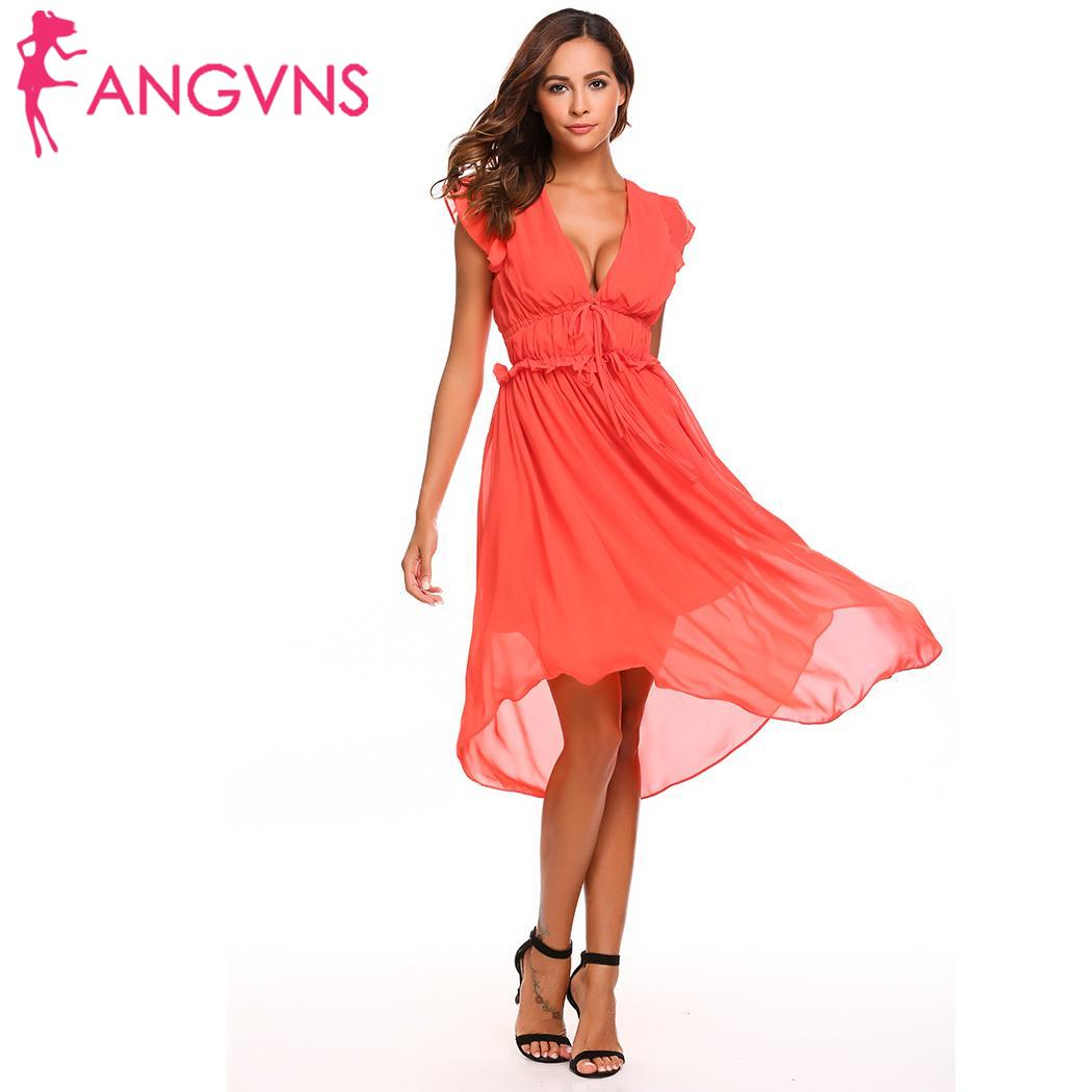 25104f49e457 ANGVNS 2018 summer V-neck sexy women dress Drawstring Irregular draped  ladies vestidos ruffles sweet