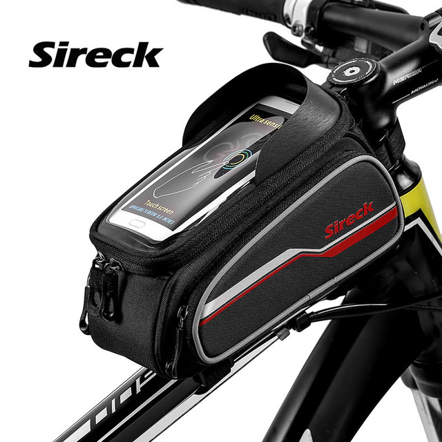 Sireck Bicycle Bag Bike Front Tube 6 Inch Phone Case Touchscreen Reflective Cycling Frame Pack Saddle Bag Bike Accessories