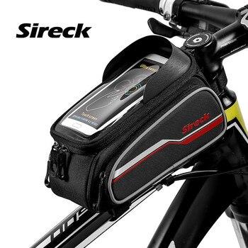 bb75cd40311 Sireck bicicleta bolsa bicicleta tubo delantero 6 pulgadas teléfono funda  pantalla táctil reflectante ciclismo marco paquete