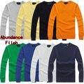 Polo 2016 outono camisola dos homens slim fit algodão homens pullover o-pescoço camisolas sólidos asiático tamanho s-xxl 8 cores