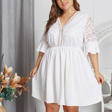 Plus Size Lace V Neck Sexy Women Dress Transparent Patchwork White Party Sexy Vestidos Dress Big Size Tunic Hollow Out Dresses sexy scoop neck sleeveless hollow out high slit plus size dress for women