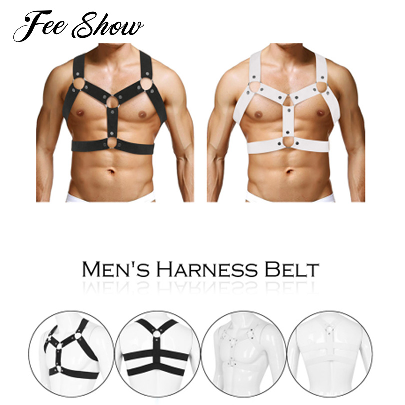 Mens Sexy Elastic Shoulder Chest Muscle Harness Belt with Metal O-rings and Studs Fancy Clubwear Party Costume Strap Accessory