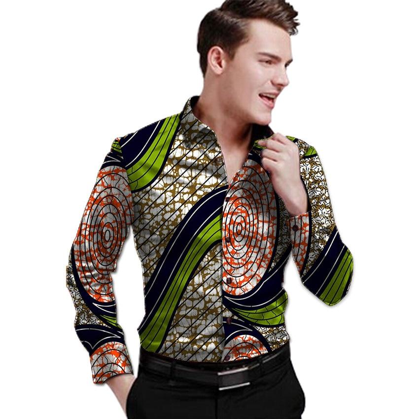 الزاهية طباعة رجل قميص كي طوق dashiki - الملابس الوطنية