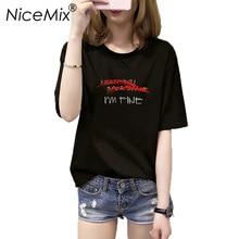 NiceMix Harajuku Letter Tops T Shirt Women Print Im Fine 2019 Summer Casual Tumblr O-neck Short Sleeve T-shirt  Camisetas Mujer