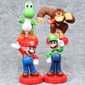 Super Mario 4pcs/set Bros Mario Yoshi Luigi PVC Action Figure Collectible Model Toy 9-10cm Figure Toys Dolls