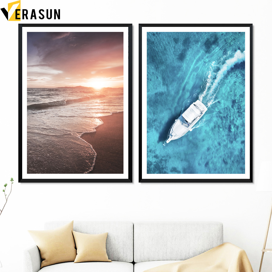 Blue Sea Yacht Beach Scandinavian Seascape Wall Art Canvas Painting Nordic Posters And Prints Wall Picture For Living Room Decor in Painting Calligraphy from Home Garden