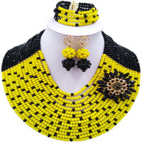 ACZUV Black and Yellow African Costume Jewelry Set Nigerian Beads Bridal Party Jewelry Sets 15C 012