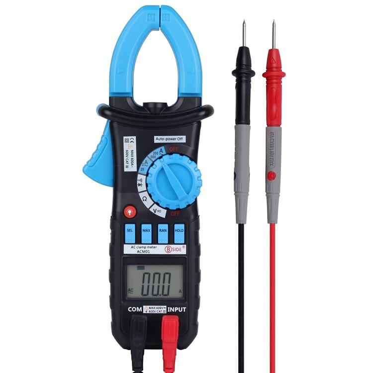 BSIDE ACM01 Digital AC Current Clamp Meter 1999 Counts Multimeter AC/DC Voltage Resistance Meter Tester Pinza Amperimetrica цена