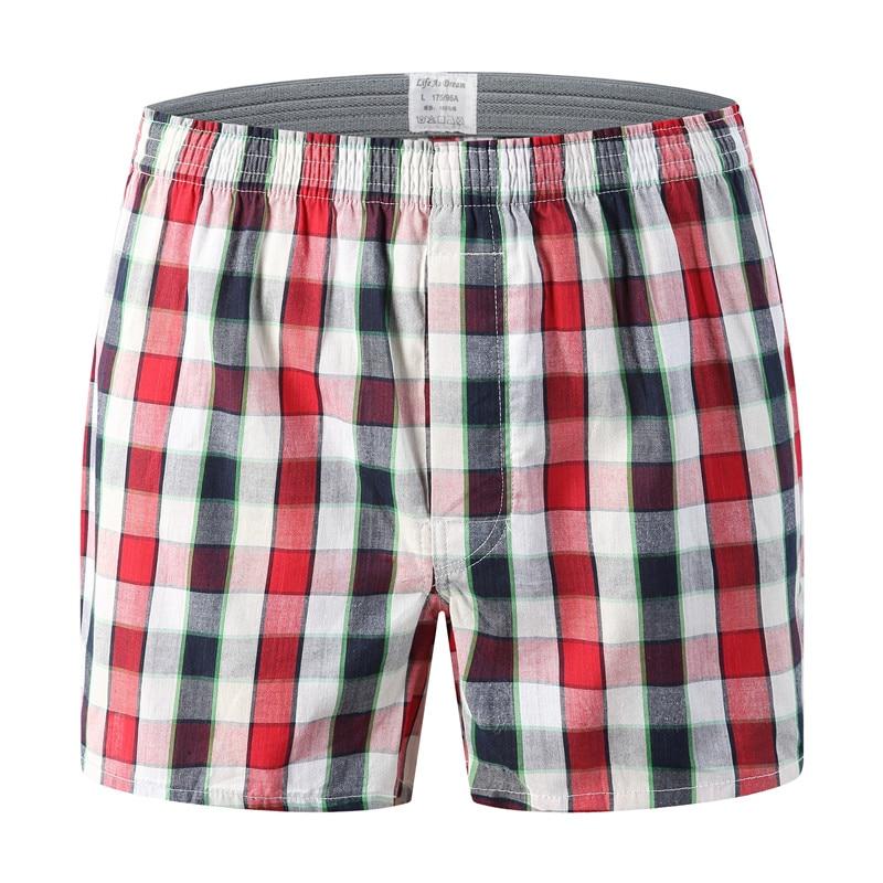 Classic Plaid Mens Boxers Pluse Size Cotton Mens Underwear Trunks Woven Homme Arrow Panties Soft Boxer 2 Pack Oversize 6XL