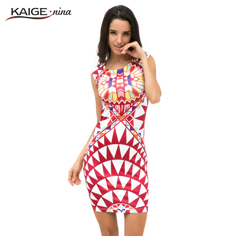 Buy Cheap Sell Like Hot Cakes New Vestidos Summer Tropical Floral Print Sleeveless Sheath O-Neck Natural Knee-Length Dress Sexy Casual2249