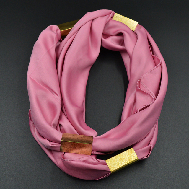 Gold Bar Looped Necklace Scarf | Jewelry Scarf