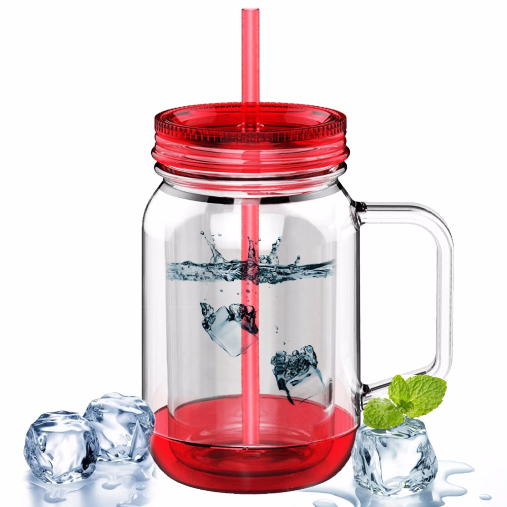AVOIN colorlife 500ml Water Bottles Double Wall Plastic Mason Jar with Straw Summer Cold drink Lemon