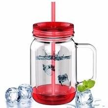 Avoin colorlife 500 ml wasserflaschen doppelwandige kunststoff einmachglas mit stroh sommer kaltes getränk lemon saft wasser camping büro
