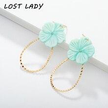 Lost Lady Fashion Flower Shell Drop Dangle Earrings Metal Geometric For Women Gilrs Ladies Statement Jewelry Wholesale