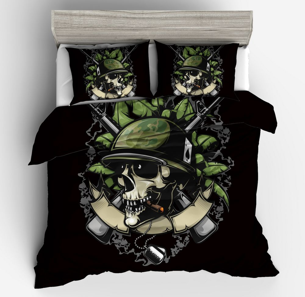 Halloween Gift 3D Printed zombie skull white green black Duvet Cover Pillowcases Twin Queen King Size Bedding set Home textilesHalloween Gift 3D Printed zombie skull white green black Duvet Cover Pillowcases Twin Queen King Size Bedding set Home textiles