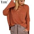 Lace up sólidos malha blusas outono mulheres flare manga com decote em v casual soltos camisolas e pulôveres de tricô das mulheres jumpers