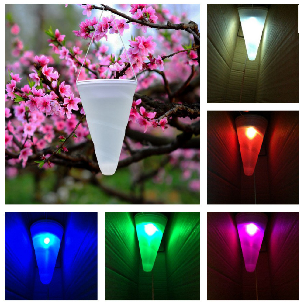 NEW Cone Shaped Hanging Solar Powered LED Lamp Color Changing Light Sense for Party Garden Outdoor Xmas Decor Birthday Gifts