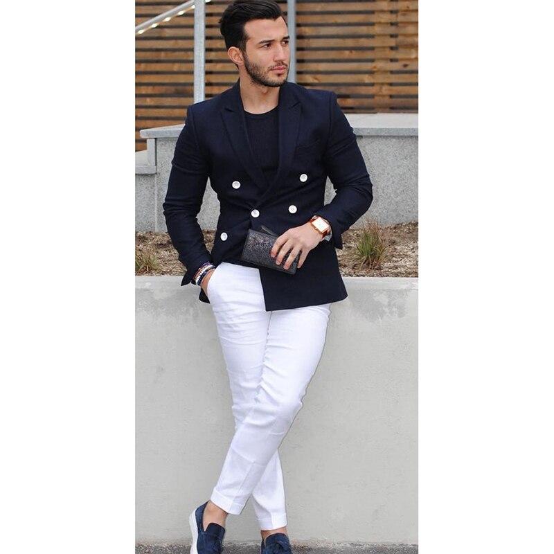 2018 Navy Blue Double Breasted Men Suit Casual Blazer costume homme Tuxedo Custom Jacket Style men Suit 2pcs(jacket+white pants)