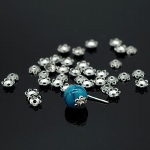 300pcs Tone Silver Plated Flower Metal Bead Caps 5mm Filigre