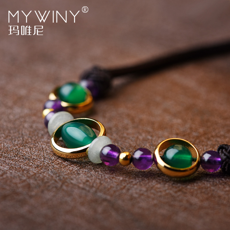 Handmade braided Fashion vintage purple crystal necklace women,New ethnic collar necklace, green nature stones chokers necklace