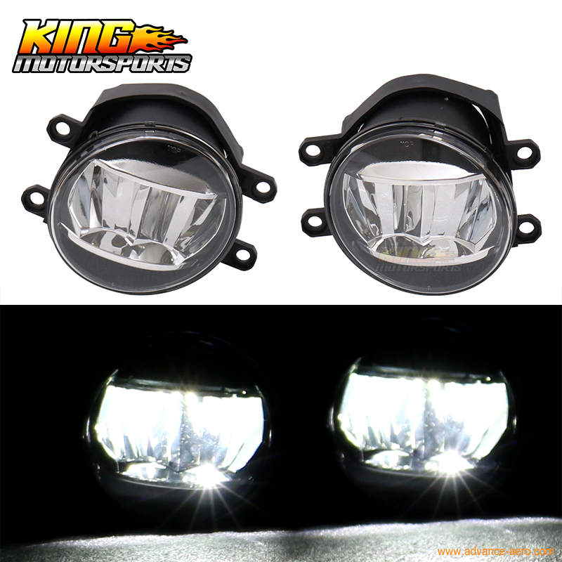ФОТО For Toyota Front LED Fog Light Fog Lamp LH RH Pair ABS Black Housing Clear Lens