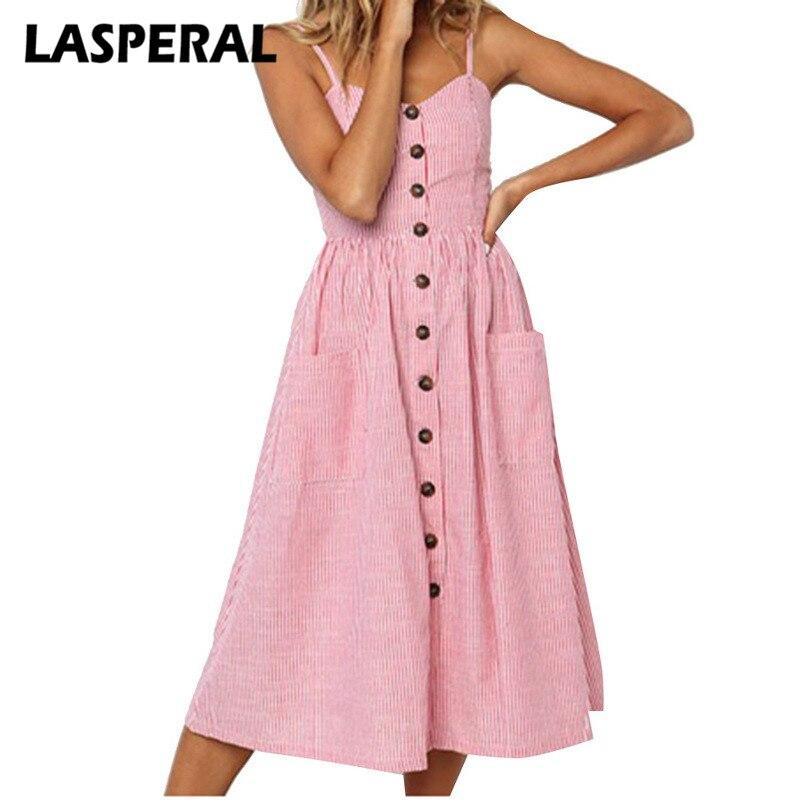LASPERAL Dress Long Boho Beach Pockets Women Striped Button Sexy Casual Summer Strap Sundress Vestidos Elegant Daily Dess Female