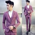 ( Jacket + Vest + Pant ) traje Homme matrimonio 2016 New hombres trajes de boda más el tamaño 5Xl Mens trajes de novio de negocios partido traje a cuadros