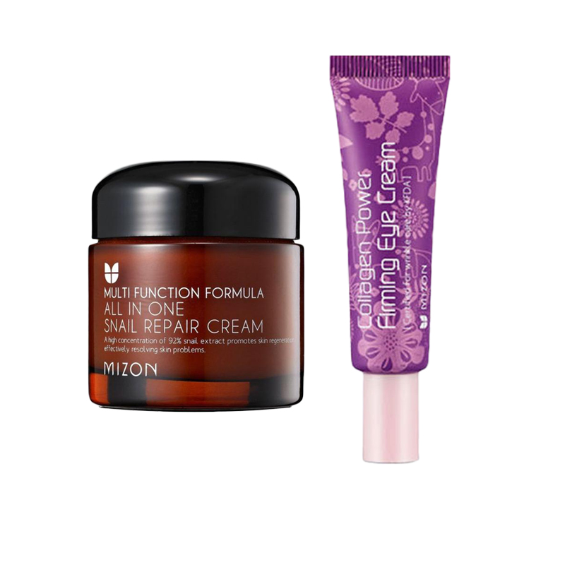MIZON All In One Snail Repair Cream 50ml [ Special Version ] + MIZON Collagen Power Firming Eye Cream 10ml Face Skin Care Set крем для глаз mizon collagen power firming 25 мл