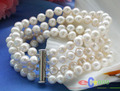 "Selling Picture 4row 8"" 8mm white round freshwater cultured pearl bracelet"