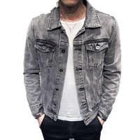 2019 Chaqueta de mezclilla para hombre con agujeros Retro motocicleta abrigo básico Streetwear Hip Hop Bomber Chaqueta de vaquero para hombre Chaqueta de Jean Chaqueta hombre