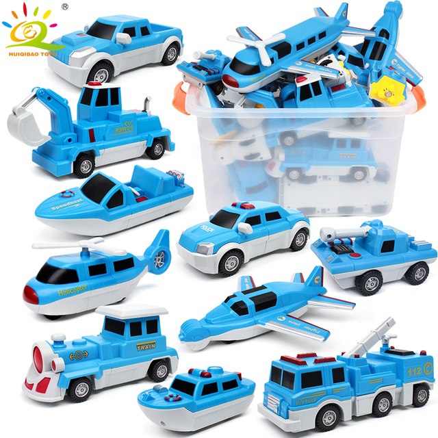 Police Boat Truck Magnetic Building Blocks Cars Train DIY Magnet Construction Game Educational Toys for toddlers kids children