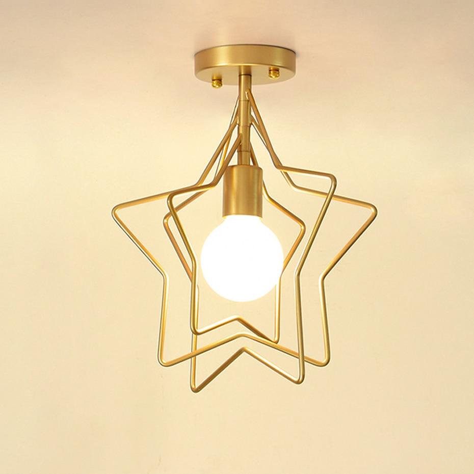 HTB11NL4adfvK1RjSspfq6zzXFXaO Creative Pentagram Iron Industrial wind Ceiling Light Retro circle E27 Black/Gold Ceiling Lamp For Restaurant Bar Coffee Shop