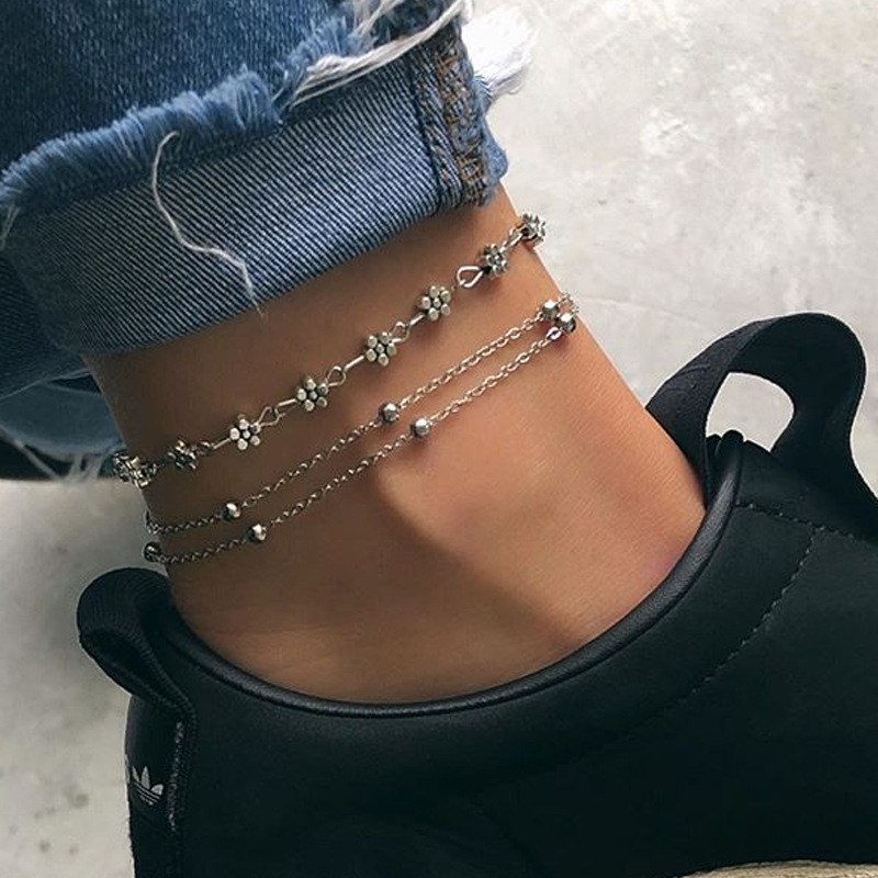 New 2019 Fashion Women Boho Multi Layer Beads Anklets Silver Color Heart Foot Chain Beach Holiday Girl Jewelry Accessories