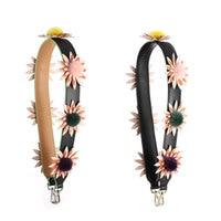 Brand Big flower shoulder strap Bag accessories wide straps Mink hair straps leather bag belt accessories striped bags parts